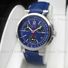 Men's Movado VIZIO Chronograph Blue Dial w/ Date Leather Swiss Quartz Watch