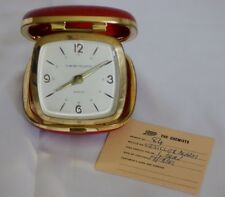 Vintage 1960s Westclox red cowhide folding travel alarm clock with receipt & box