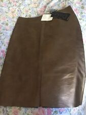 NWT D&G Dolce & Gabbana Bronze Golden Metallic Real Leather Pencil Skirt. Sz 40
