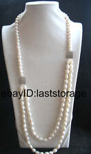 "2rows freshwater pearl white round baroque necklace 28-31"" wholesale nature"