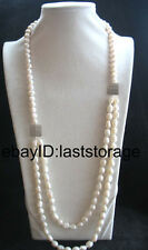 """2rows freshwater pearl white round baroque necklace 28-31"""" wholesale nature"""
