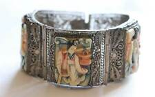 Antique Japanese Hand Painted Polychromed Bone & Silver Filigree Panel Bracelet