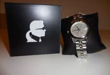 BRAND NEW KARL LAGERFELD KL2203 SILVER TONE LOGO DIAL STUDDED BAND WOMEN'S WATCH