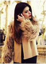 ZARA BNWT CAMEL WOOL MIX FAUX FUR JACKET COAT BLOGGERS LARGE