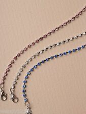 PACK OF 6 SILVER TONE CRYSTAL 1-ROW ANKLET CHAINS : WHOLESALE : SP-0043 PK6