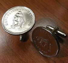 Argentina Sailing Ship Frigate Sarmiento Sailor Vintage Coin Cufflinks + Box!