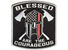 "(F3) BLESSED ARE THE COURAGEOUS 3.5"" x 3.75"" iron on patch (4809) Firefighter"