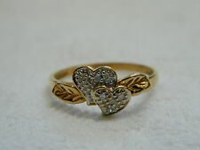 9ct Yellow Gold Diamond Set Double Heart Leaf Ring sz R