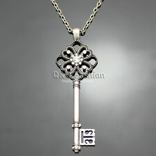Victorian Vintage Silver Steampunk Skeleton Key Filigree Pendant Necklace W8