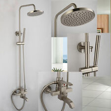 "Brushed Nickel 8"" Rain Shower Faucet System Tub Mixer Tap with Hand Shower Head"