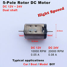 Mini 5-Pole Rotor Motor DC 12V-24V 1000-20000RPM High Speed  Dual shaft for car