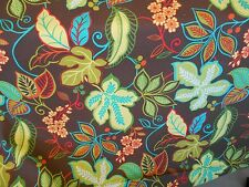 BROWN LIME CORAL TURQUOISE RETRO COTTON FLORAL PRINT DRAPERY  UPHOLSTERY FABRIC