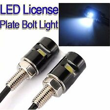 2pcs White LED SMD Motorcycle & Car License Plate Screw Bolt Light lamp bulb 12V