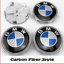BMW E46 E60 E81 E87 E90 E91 Fibra De Carbono Azul Centro De Rueda De Aleación Tapas 68mm x4