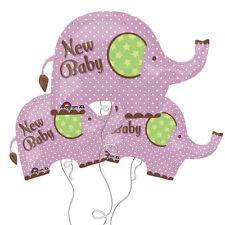 New Baby Elephant Purple & White Polka Dot Mylar Foil Balloon 3 Pack