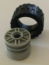 *NEW* 4 Lego GRAY Wheel 18mm D. x 14mm FAKE BOLTS & Shallow Spokes BLACK TIRE14