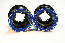 "DWT G2 Black Blue Rear Beadlock Rims Wheels 9"" 4/115 YFZ450 YFZ450R Raptor 700"