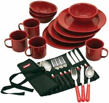 Dinnerware enamel kitchen Dining Cookware 24-Piece Set Camping Dishes Bowl plate