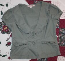 Decree Womens LARGE Olive Army Green Ruffle Top Button-Down Blouse