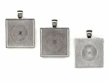 """10sets Photo Jewelry DIY Kit blank square 1"""" pendant with glass dome"""