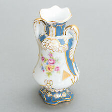 "Antique Royal Dux Bohemia Czech Porcelain Vase Blue & Gold Floral 5.5"" Tall"