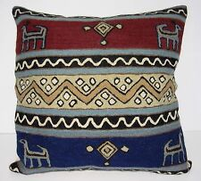 "Kashmir Pillow Cushion Cover Wool 16"" Crewel Ari Chain Stitch India Geometric"