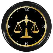 SCALES OF JUSTICE LAW LAWYER COURT JUDGE WALL CLOCK **GREAT GIFT ITEM**