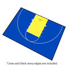 44ft x 29ft Outdoor Basketball Half Court Kit-Lines and Edges Includ-Blue/Yellow