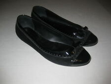 TODS Black Suede Leather Patent Bow Trim Flats Womens 39 8.5 9