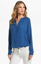 Vince NWT Popover Half Placket Silk Blouse Tunic Top Pacific Blue M/Medium $275