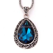 Hollow-out Droplets Blue Pendant Long Necklace Sweater Chain Christmas Gifts