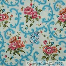 BonEful Fabric FQ Cotton Quilt Cream Blue Pink Shabby Chic Victorian Rose Flower