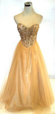 NWT MASQUERADE $190 Gold Party Formal Evening Gown 7