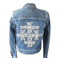 J-463432 New Saint Laurent Stud Blue Jean Jacket Coat Size-L