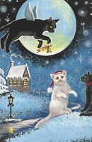 ACEO PRINT OF PAINTING RYTA BLACK WHITE CAT FOLK WINTER XMAS ANGEL FAIRY BELL