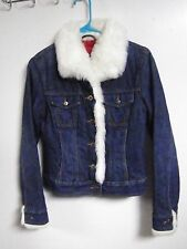 ARIZONA GIRLS Juniors SIZE SMALL DENIM BLUE JEAN JACKET TOP COAT FAUX FUR BUTTON