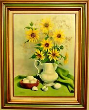 D. Willems-Sunflowers-ORIGINAL Oil Painting on Canvas, Hand Signed and Framed!