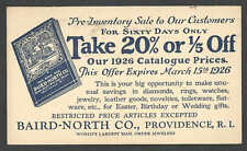 DATED 1926 PC PROVIDENCE RI BAIRD NORTH CO JEWELERS NEW 1926 CAT W/PRICES