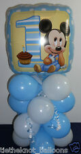 "18"" FOIL BALLOON  TABLE DECORATION DISPLAY MICKEY MOUSE 1ST BIRTHDAY AGE 1 B/W"