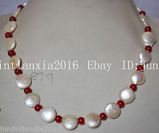 Natural New 12-13mm White Coin Pearl & 6MM Red Coral Gems Necklace 18''