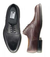 Moreschi Men's Bergen Deerskin Wingtip Shoes Black WIDE - 7W USA *New In Box*