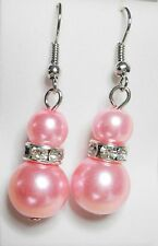 Pink Double Faux Pearl 6mm &12mm Crystal Silver Tone Drop Earrings on Hooks
