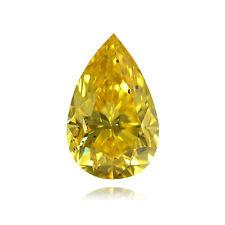 Yellow Loose Diamond Pear Shape Natural Fancy Color 0.94 Carat SI1