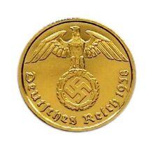 2 Reichpfenning 1939 A NAZI coin Third Reich WWII 24k gold plated!