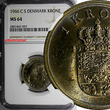 Denmark 1966 CS 1 Krone NGC MS64 TOP GRADED BY NGC RAINBOW NICE TONING KM# 851.1