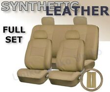 SOLID TAN PU Low Back Synthetic Leather Seat Covers Steering Wheel Set Beige CS4