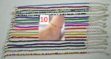 10 x Handmade Mix colour Seed Beads Ankle Bracelets Anklets Hippy Beach Festive