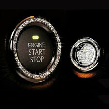 Crystal Car Engine Start Stop Ignition Key Ring Car Interior Decor White Bling