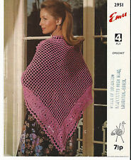 ORIGINAL VINTAGE 1970s CROCHET PATTERN womens MOTIF EDGE SHAWL