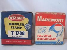 Vintage 1930's and 40's Muffler Clamps In Box Wizard & Maremont  Western Auto
